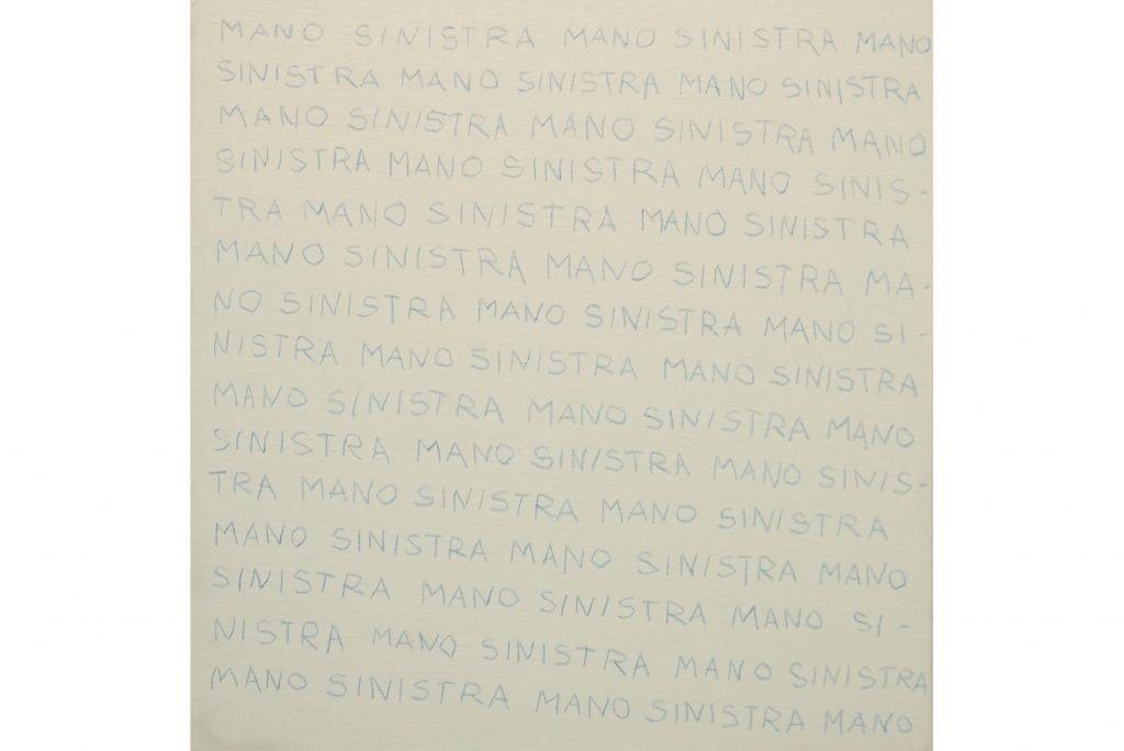 """ANTONIO SCACCABAROZZI """"Una condizione particolare - mano sinistra"""" - 1979 - matita blu su tela 40X40 cm"""