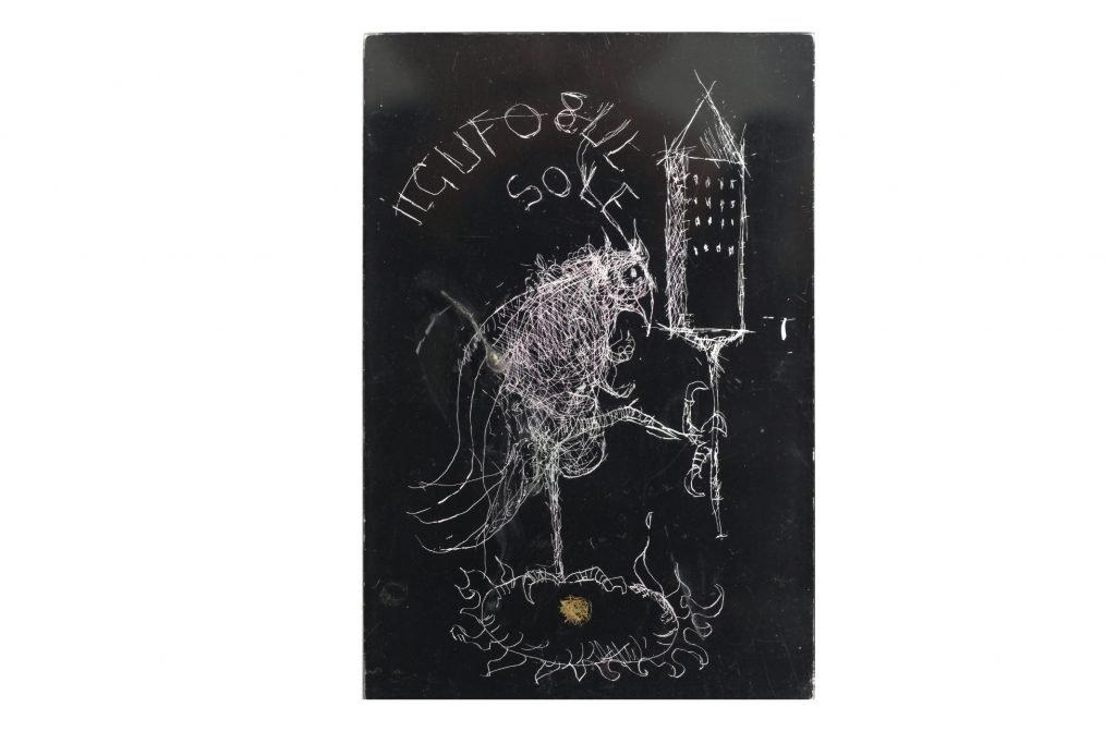 """MAGDALO MUSSIO """"Il gufo sul sole"""" - 1986 - tecnica mista su plexiglass 15x10 cm"""