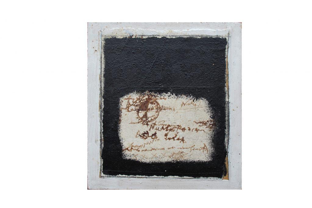"""MAGDALO MUSSIO """"Inchiostro"""" -1985 - olio su tavola 27X24.5 cm"""