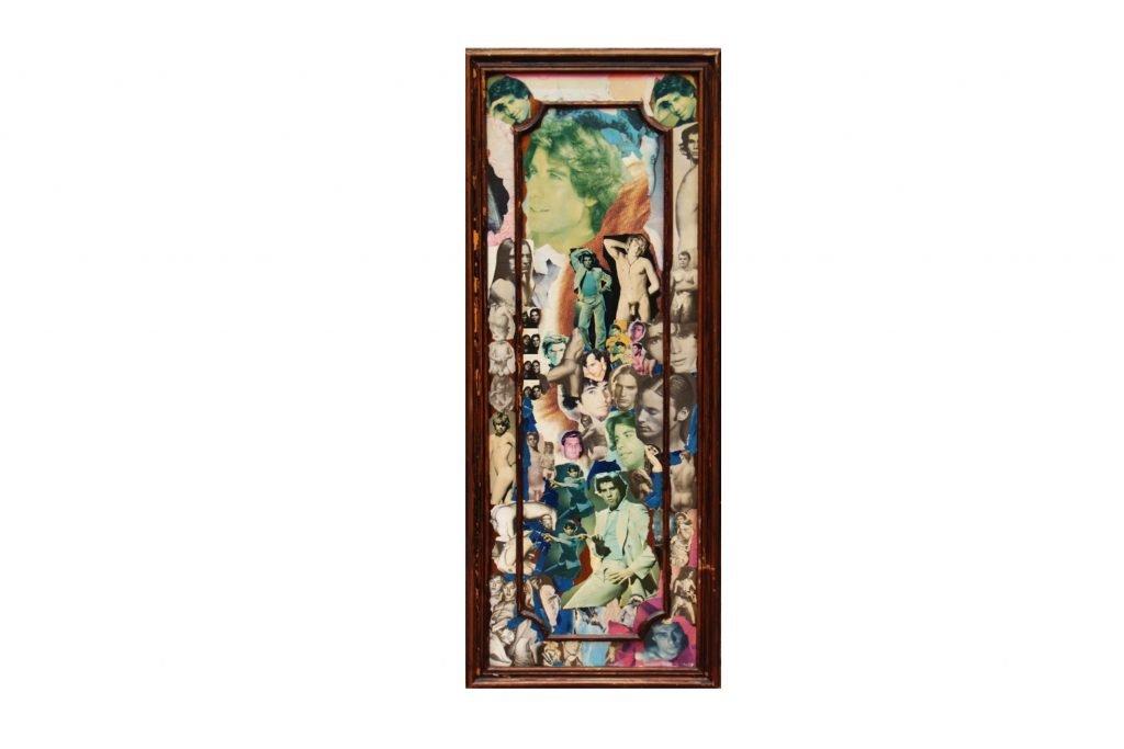 """SYLVANO BUSSOTTI """"Senza titolo"""" - anni '70 - collage su legno di recupero 123x60 cm"""