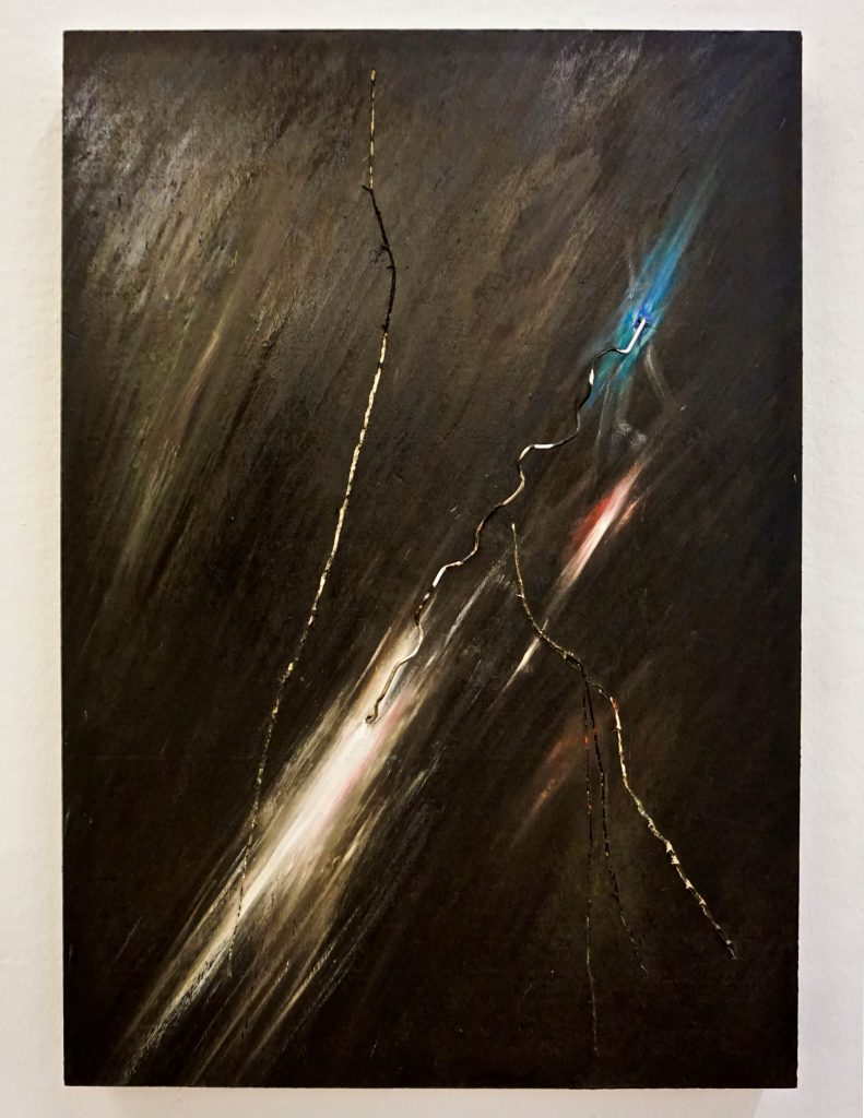 "PIETRO COLETTA ""Fulmine II"" - 2015- bitumen, wax, metal, colored pigments on board 50x35 cm"