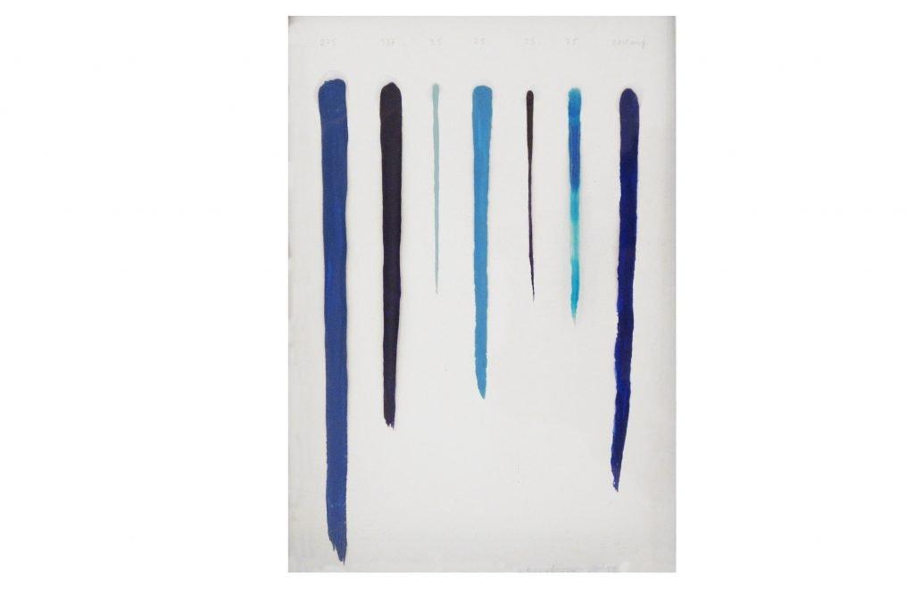 """ANTONIO SCACCABAROZZI """"Misurazione di linee"""" - 1982 - pittura acrilica e colla su tavola 29x19 cm"""
