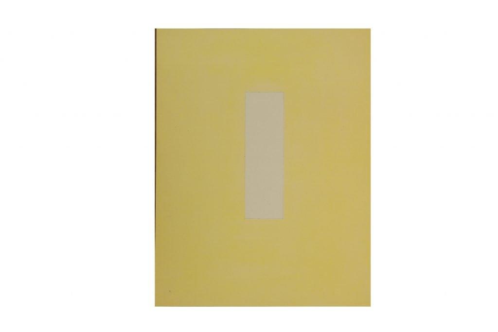 """ANTONIO SCACCABAROZZI """"Dichiarazione di 49,49 cm2 di non giallo"""" -1980 - acquerello su carta 28x22 cm"""