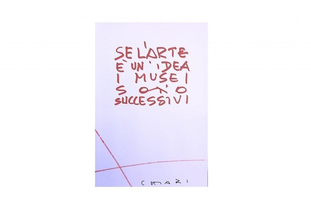 """GIUSEPPE CHIARI - """"Se l'arte è un'idea i musei sono successivi"""" tecnica mista su carta 70x50 cm"""
