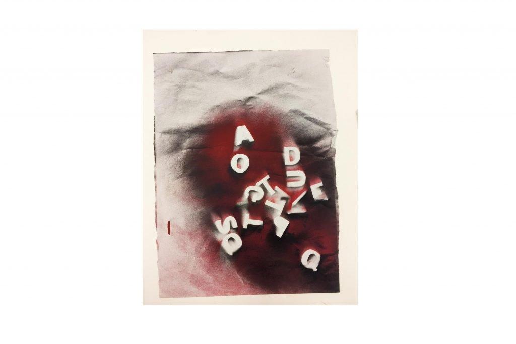 "JULIEN BLAINE ""Du Q à l'A"" -1964- pittura acrilica spray 40 x 30 cm"