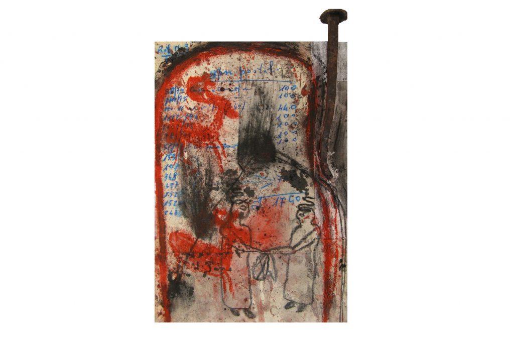 """ARCANGELO """"Irpini oggetti ritrovati"""" -2016 - tecnica mista su tela 30X20 cm"""