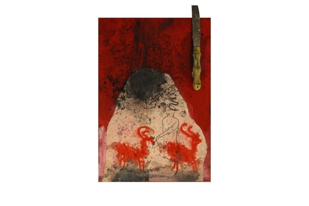 """ARCANGELO """"Irpini oggetti ritrovati"""" -2016- tecnica mista su tela 30X20 cm"""