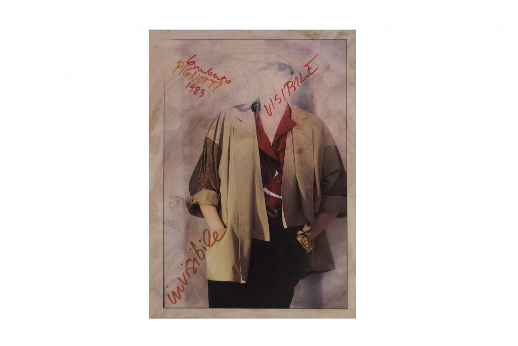 LAMBERTO PIGNOTTI Visibile invisibile -1983- intervento su foto di rivista 31x22,1 cm