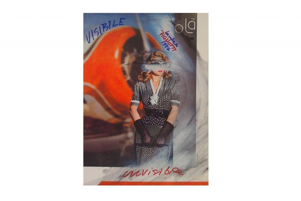 LAMBERTO PIGNOTTI Visibile invisibile -1984- intervento su foto di rivista 31x22,1 cm