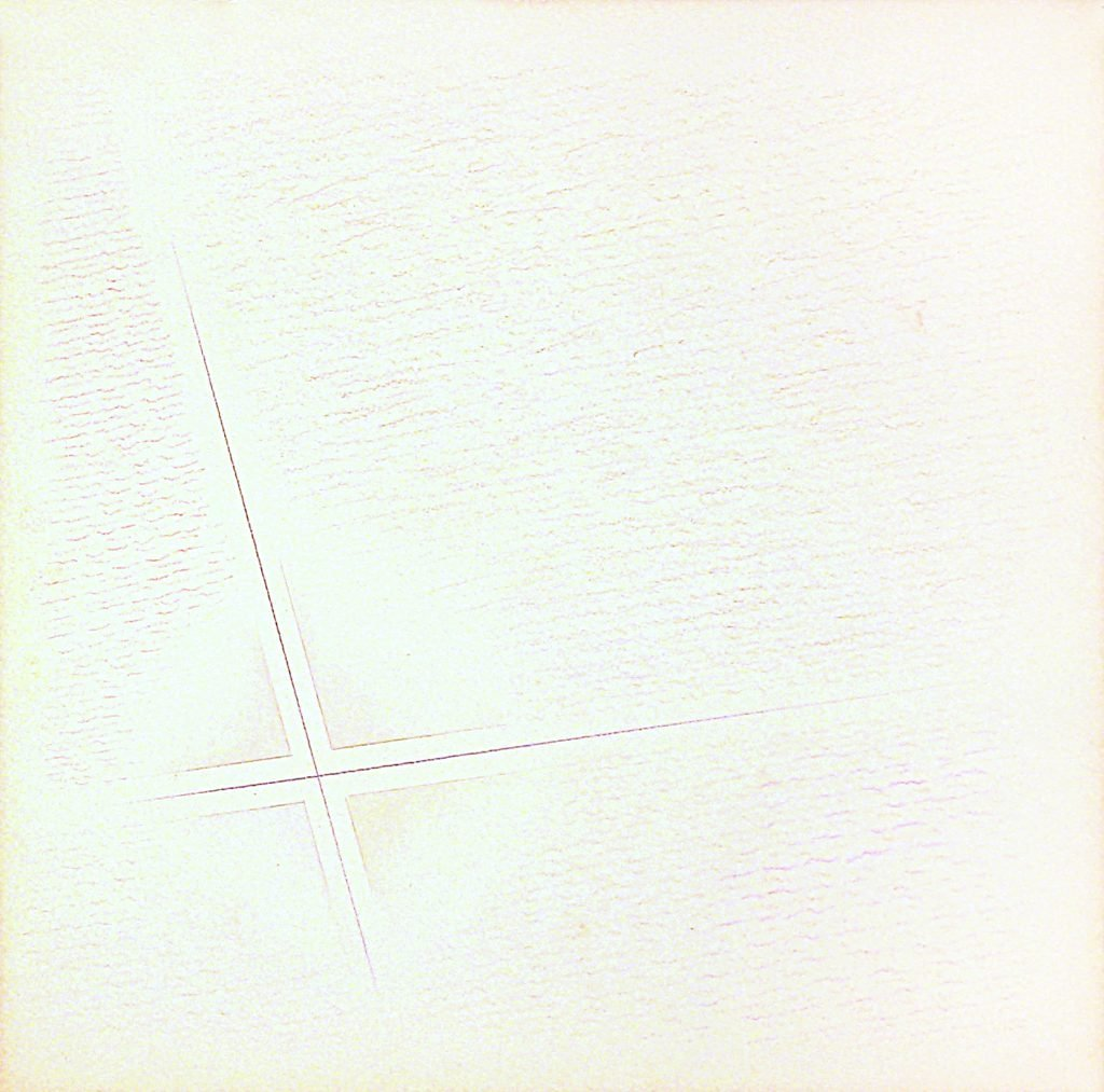 """RICCARDO GUARNERI """"Dall'interno, non ortogonale"""" -1980- tecnica mista su carta 25.5X25.5 cm"""