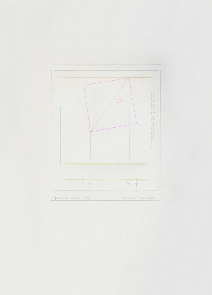 """RICCARDO GUARNERI """"Geometria poetica"""" -1972- tecnica mista su carta 35X25 cm"""