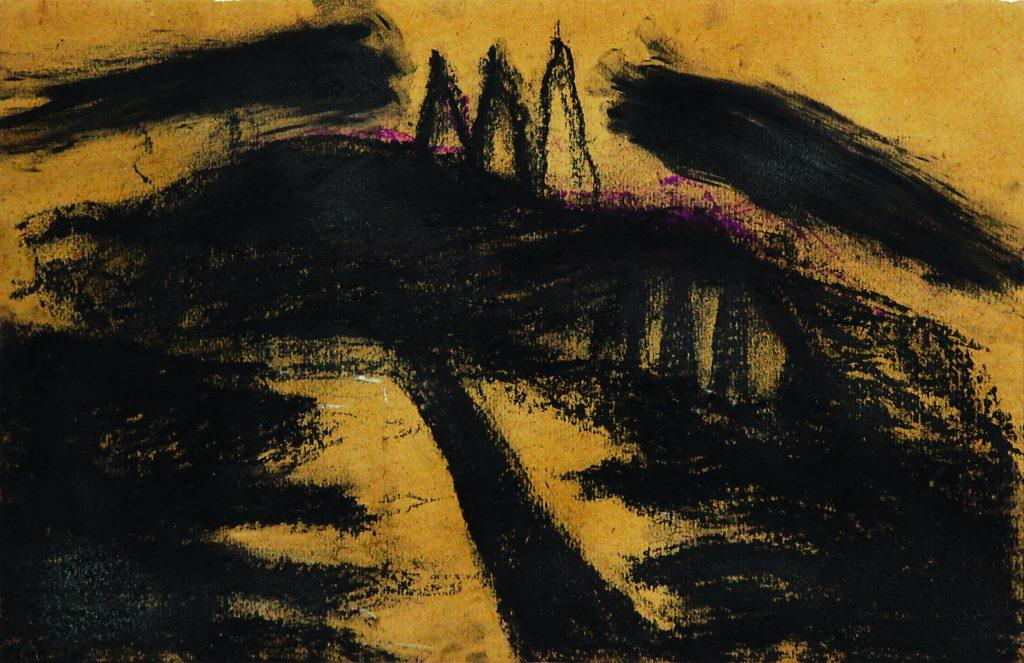 "ARCANGELO ""Foresta nera"" - 1985 - mixed technique on cardboard 27x40.5 cm"
