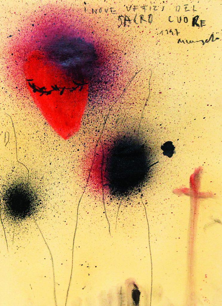 """ARCANGELO """"I nove uffizi del Sacro Cuore"""" - 1997 - mixed technique on paper 34.5x24.5 cm"""