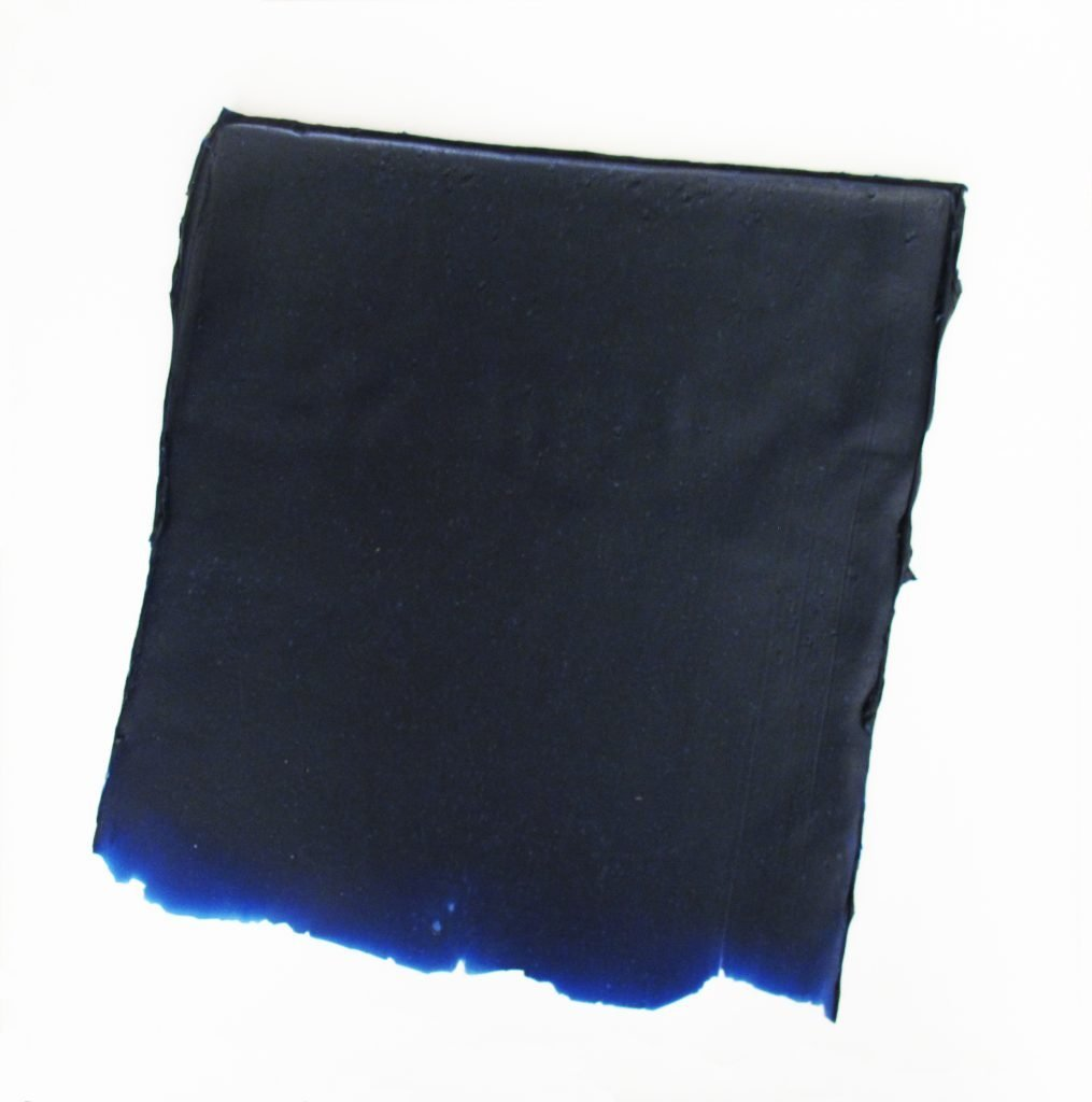 "ANTONIO SCACCABAROZZI ""Dire Bluchiaro"" - 1991 - blue acrylic and renforced mastic 41x44,5 cm"