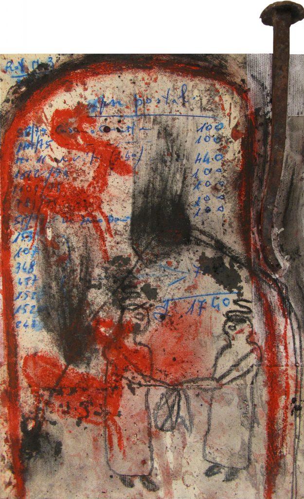 """ARCANGELO """"Irpini oggetti ritrovati"""" -2016 - mixed technique on canvas 30X20 cm"""
