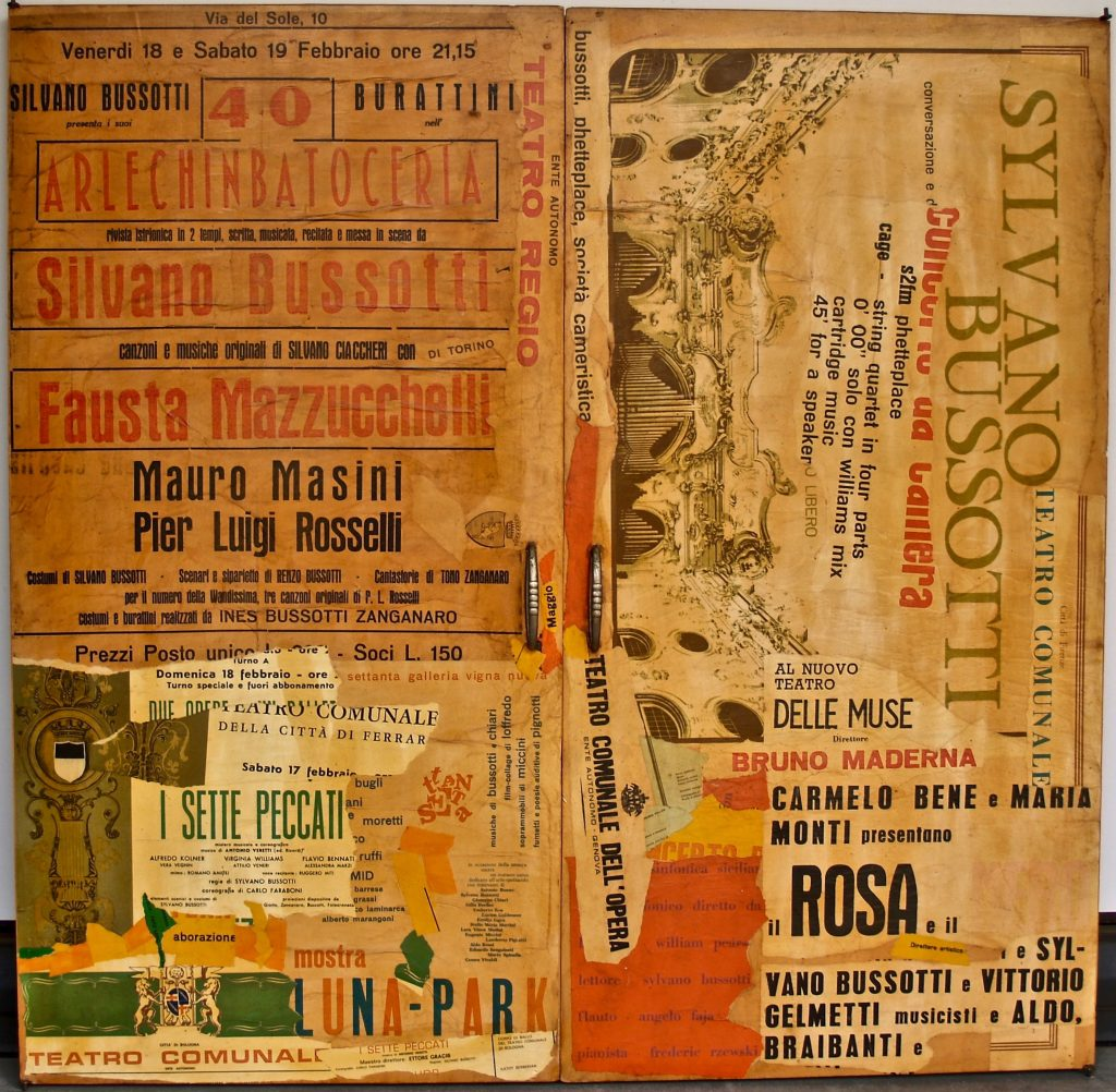 "SYLVANO BUSSOTTI ""Senza titolo"" - 70s - collage on closet doors 97x99 cm"