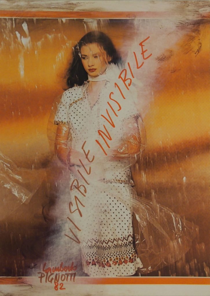 "LAMBERTO PIGNOTTI ""Visibile invisibile"" -1982- mixed media on magazine photography 31x22.1 cm"