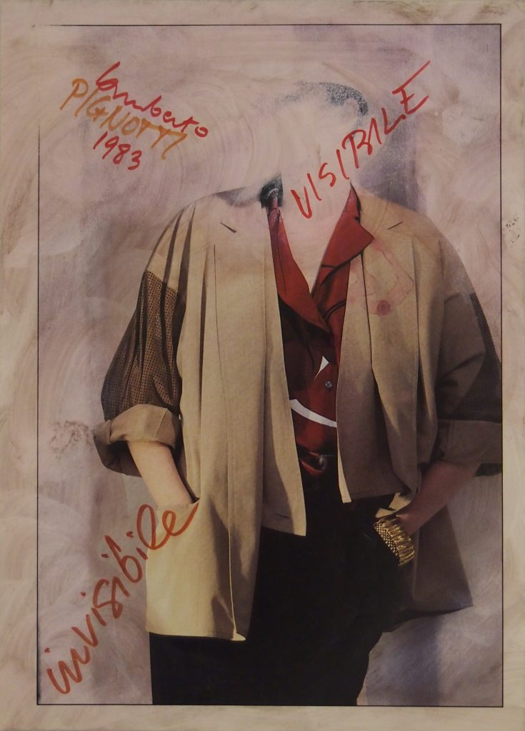 "LAMBERTO PIGNOTTI ""Visibile invisibile"" -1983- mixed media on magazine photography 31x22.1 cm"