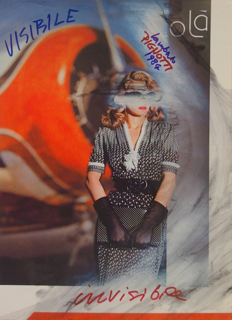 "LAMBERTO PIGNOTTI ""Visibile invisibile"" -1984- mixed media on magazine photography 31x22.1 cm"