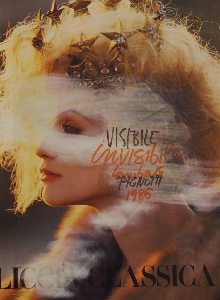 "LAMBERTO PIGNOTTI ""Visibile invisibile"" -1986- mixed media on magazine photography 28,5x20,3 cm"