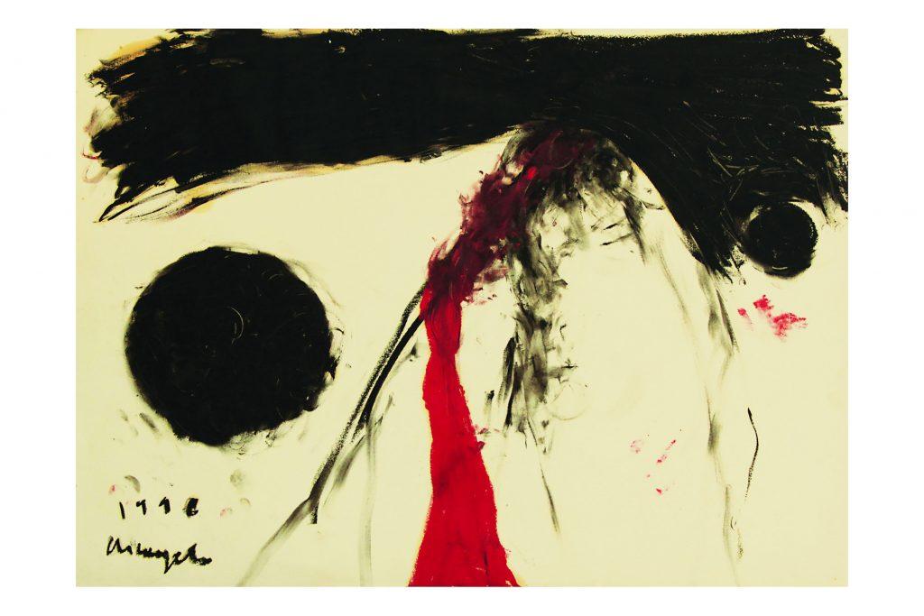 """ARCANGELO """"Senza titolo"""" -1996 -olio e carbone su carta 60x80 cm"""
