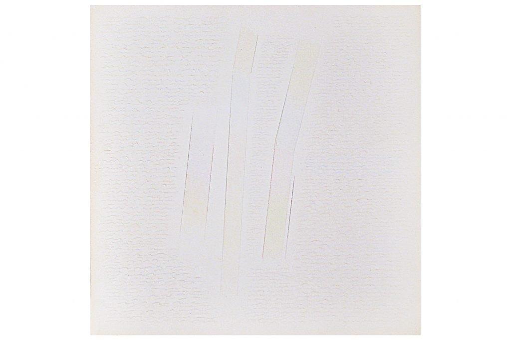 """RICCARDO GUARNIERI """"In verticale"""" -1980- Tecnica mista su carta 25.5X25.5 cm"""