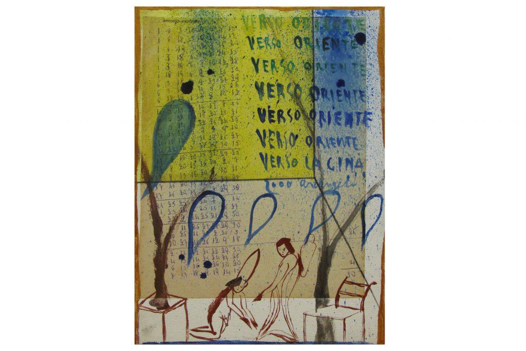"""ALESSANDRO ALGARDI """"Verso Oriente Verso la Cina"""" -2000- Mixed media on canvas 35X23 cm"""