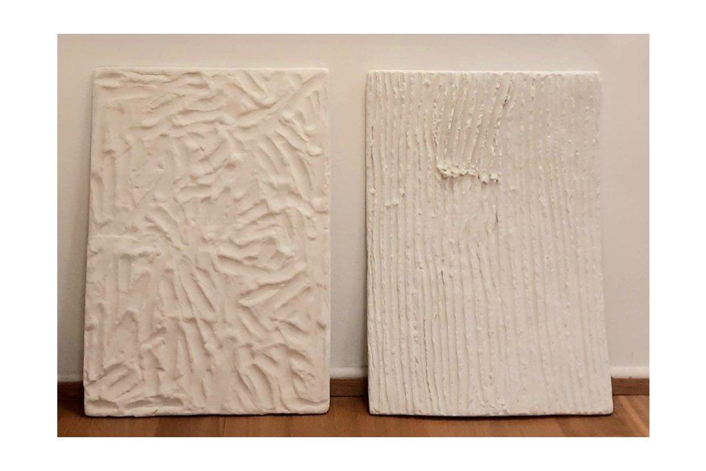 """ANTONIO VIOLETTA-""""Pagine""""-dittico-1987-terracotto dipinta-100x70 cm ca. Cad"""
