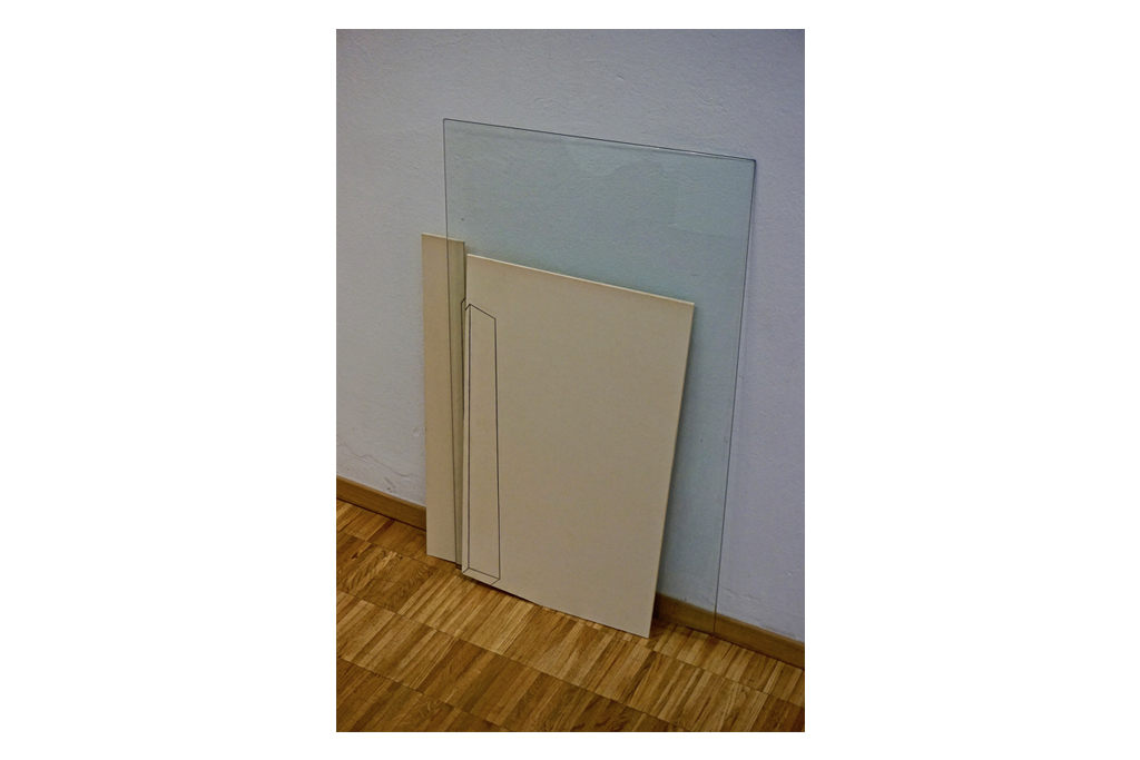 PIETRO COLETTA -1980- cartone vegetale e vetro 120x85 cm 2