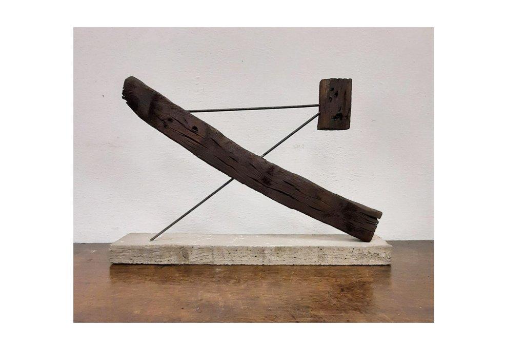 """PIETRO COLETTA-""""TOTEM MAQUETTE""""-1972-tecnica-legno di recupero ferro cemento-h23 cm"""