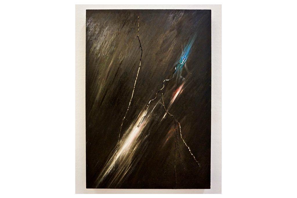 """PIETROCOLETTA -""""Fulmine II""""-2015-bitume cera metallo pigmenti colorati su tavola-50x35cm"""