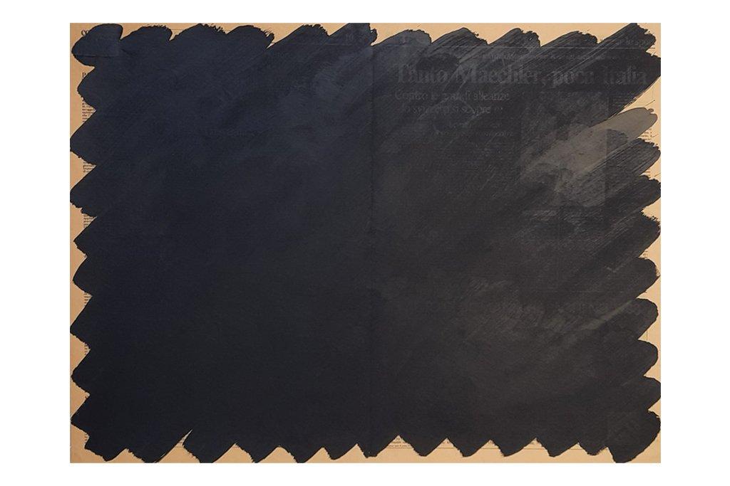 """ANTONIO SCACCABAROZZI-""""Giornale""""-1987-acrilico su carta di giornale intelata-47x63cm"""