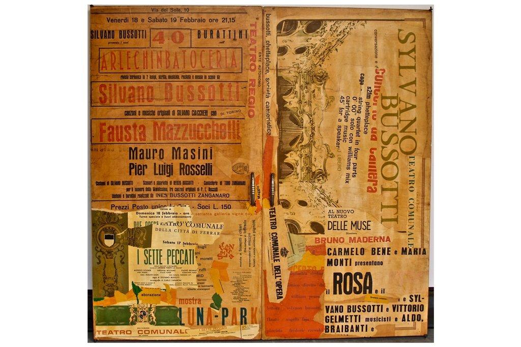 """SYLVANO BUSSOTTI-""""Senza titolo""""-anni '70-collage su ante di armadio-97x99cm"""