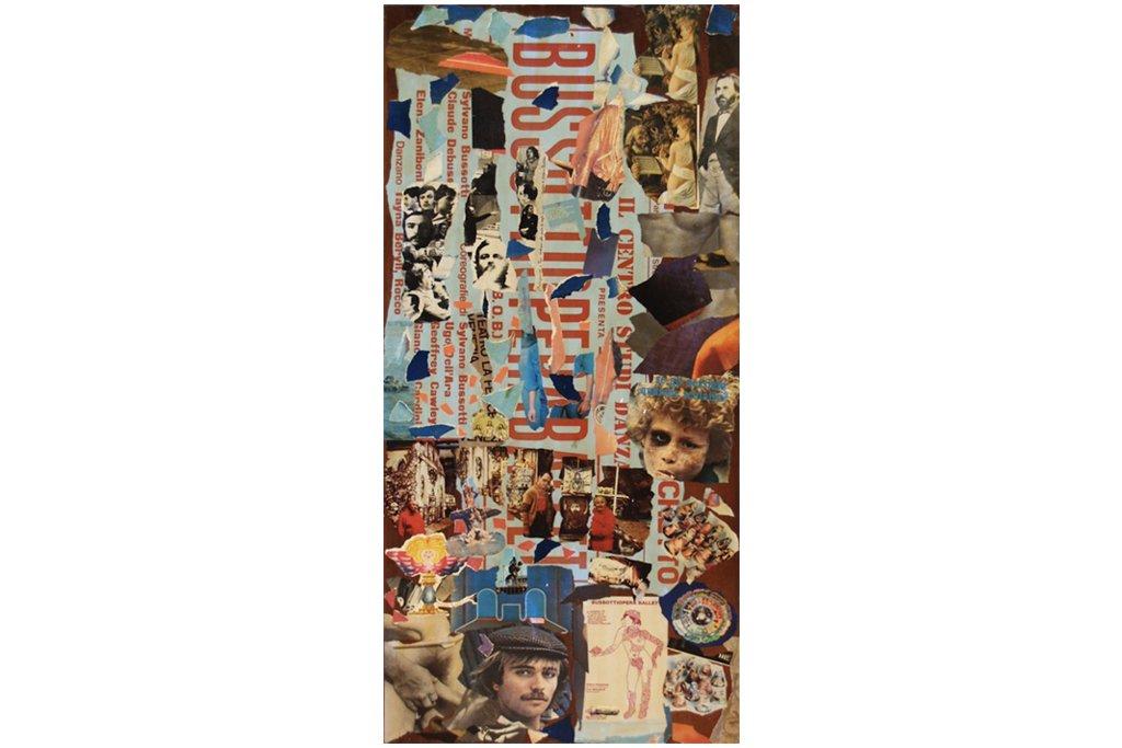 """SYLVANO BUSSOTTI-""""Senza titolo""""-anni '70-collage su legno di recupero-123x60cm"""