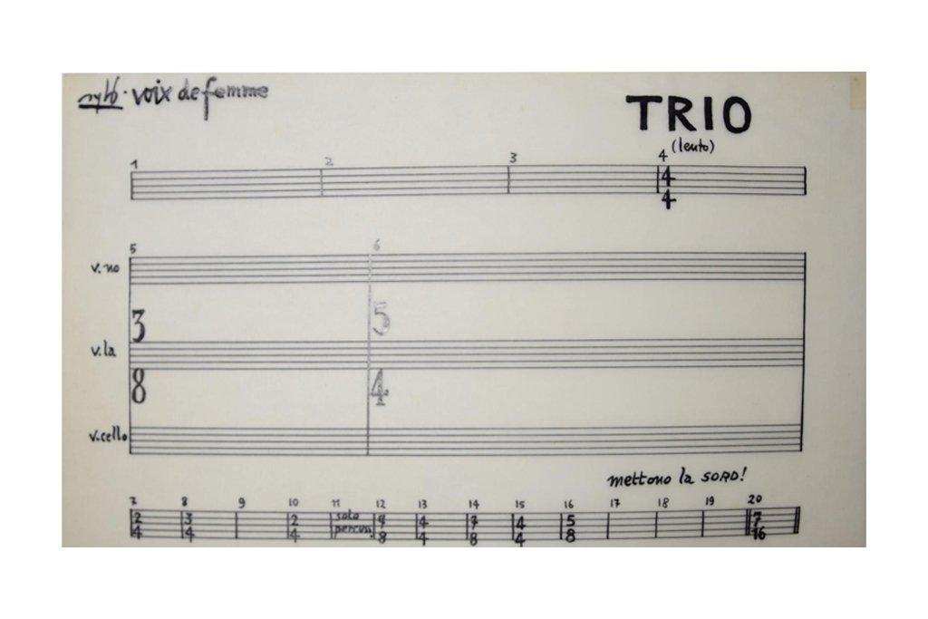 """SYLVANO BUSSOTTI -""""Voix de femmetrio""""-1964-1967-inchiostro su lucido"""