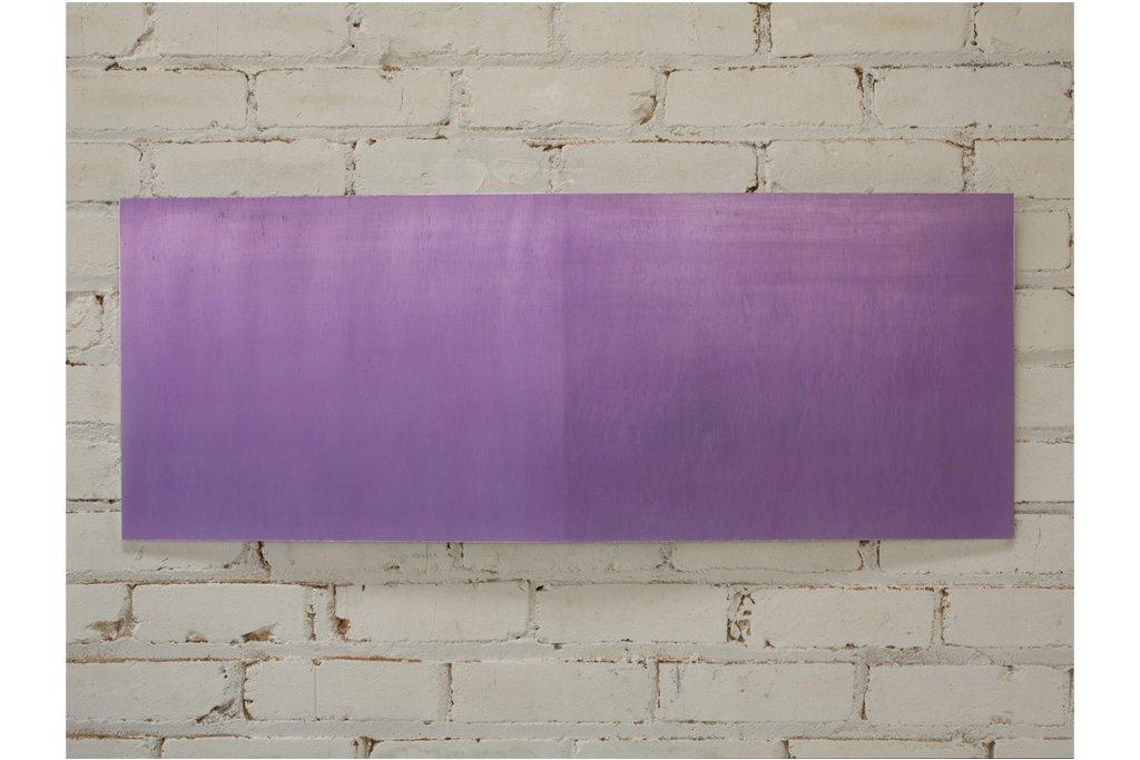"""ROY THURSTON-""""2010-5""""-2010-alluminio raschiato e acrilico-38x99x3cm"""